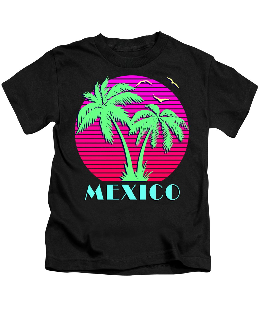 Classic Kids T-Shirt featuring the digital art Mexico Retro Palm Trees Sunset by Filip Schpindel