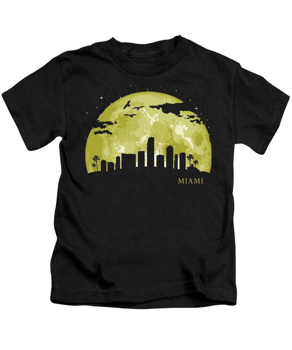 Skyline Kids T-Shirt featuring the digital art Miami Moon Light Night Stars Skyline by Filip Schpindel