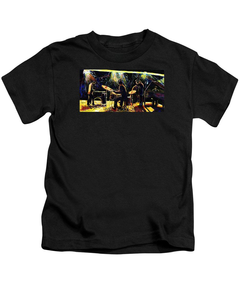 Everett Spruill Kids T-Shirt featuring the painting Modern Jazz Quartet take2 by Everett Spruill