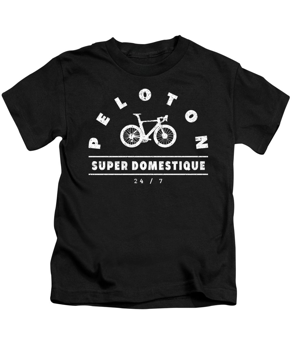 Bike Lover Shirt Kids T-Shirt featuring the digital art Peloton Super Domestique 24 7 Bike Theme Gifts for a Cyclist by Henry B
