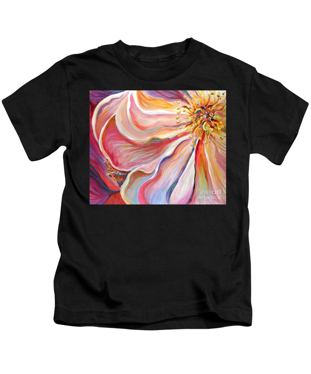 Pink Poppy Kids T-Shirt featuring the painting Pink Poppy by Nadine Rippelmeyer