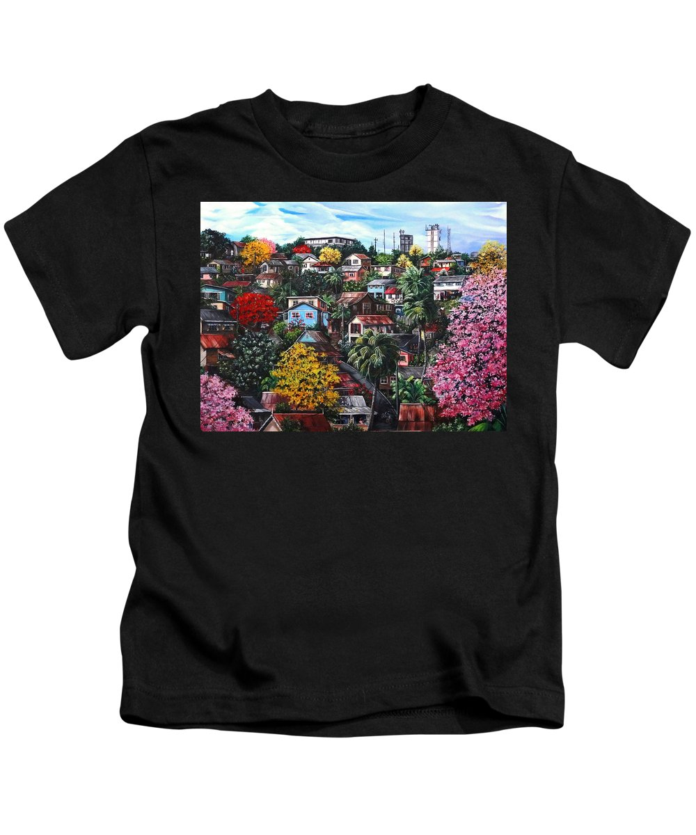 Landscape Painting Cityscape Painting Caribbean Painting Houses Hill Life Color Trees Poui Blossoms Trinidad And Tobago Floral Tropical Caribbean Kids T-Shirt featuring the painting Poui Calling For The Rains by Karin Dawn Kelshall- Best