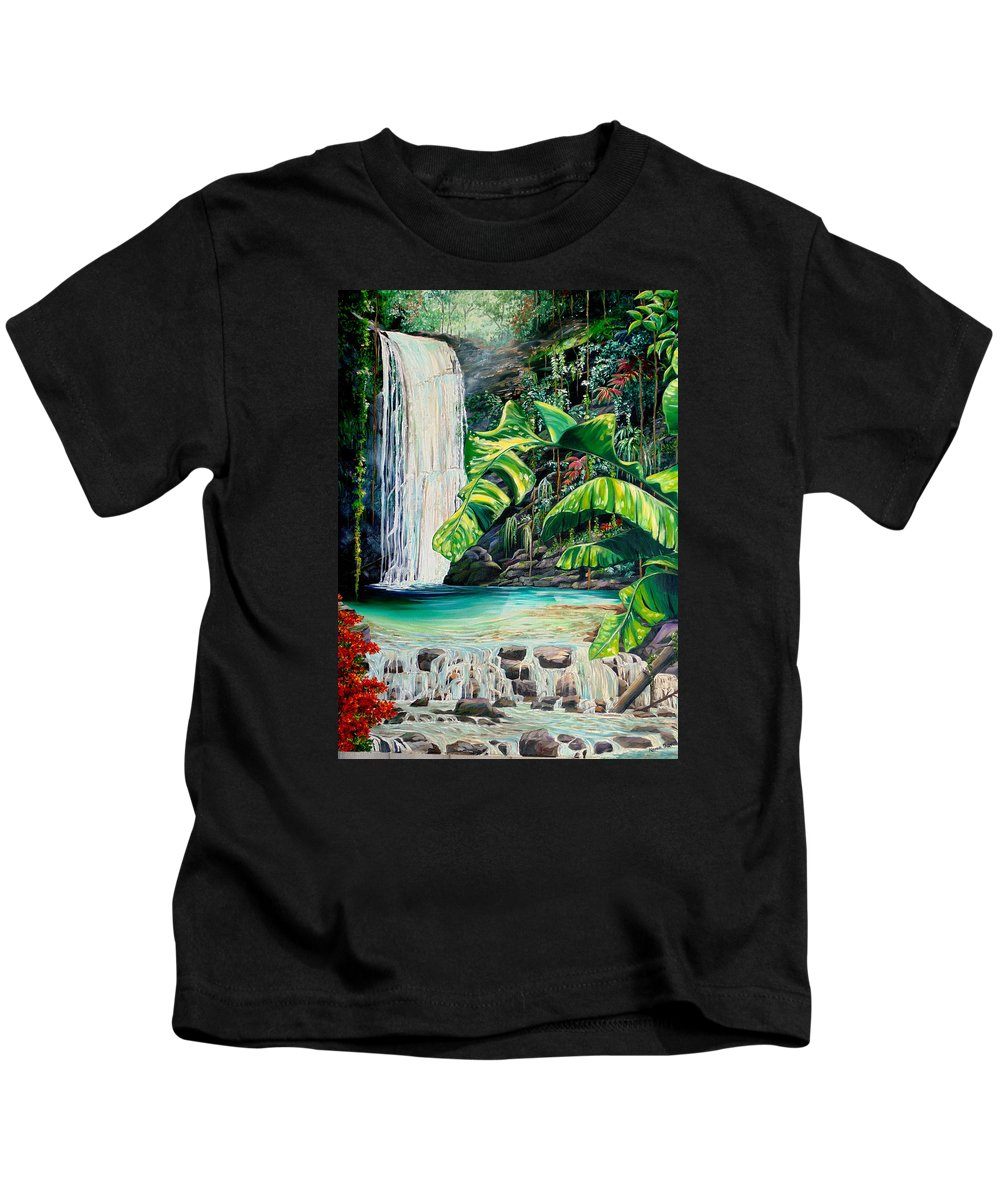 Water Fall Painting Landscape Painting Rain Forest Painting River Painting Caribbean Painting Original Oil Painting Paria Northern Mountains Of Trinidad Painting Tropical Painting Kids T-Shirt featuring the painting Rainforest Falls Trinidad.. by Karin Dawn Kelshall- Best