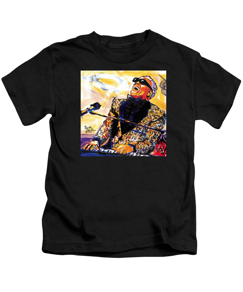 Everett Spruill Kids T-Shirt featuring the painting Ray Charles by Everett Spruill
