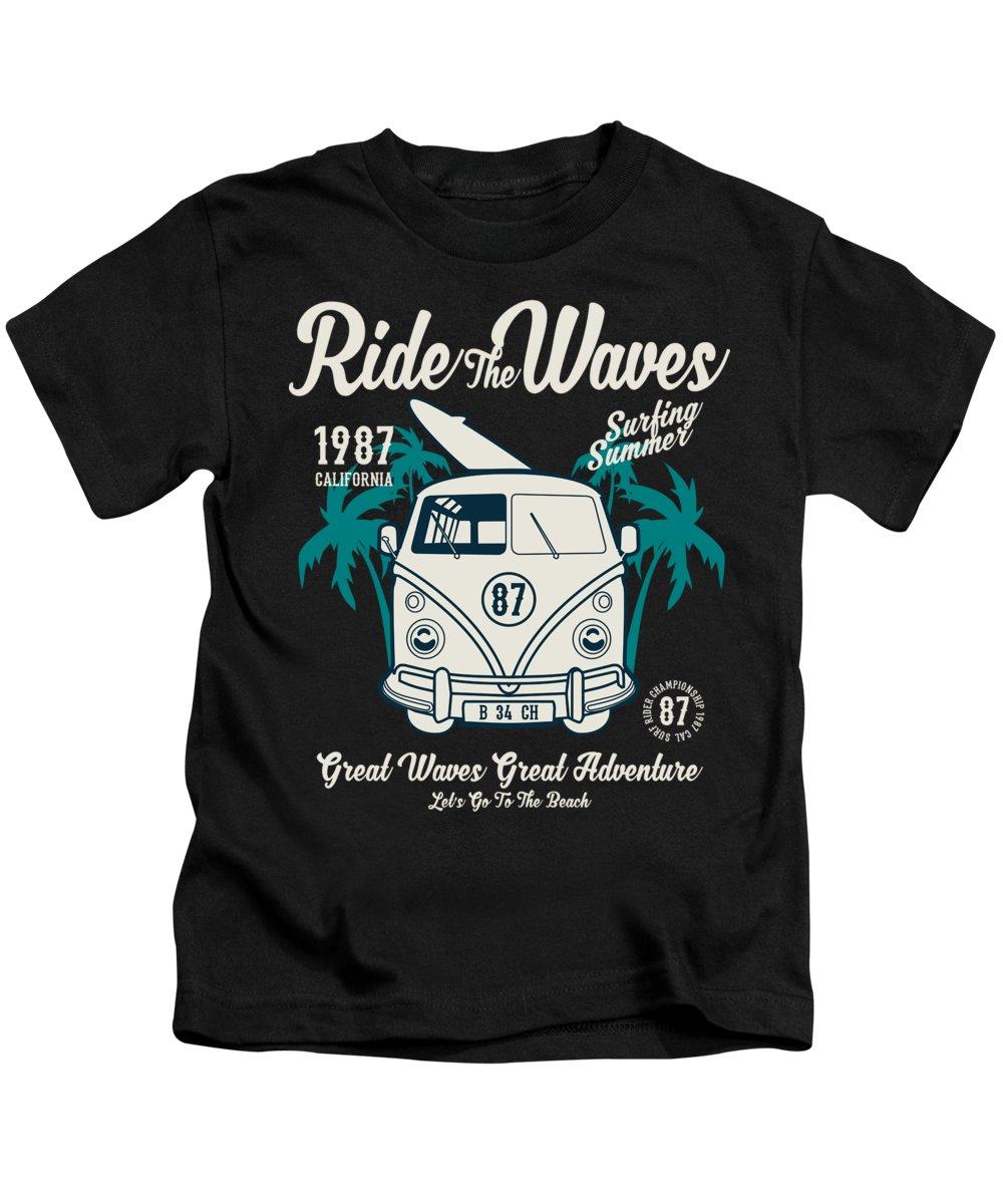 Beach Kids T-Shirt featuring the digital art Ride The Waves California Surfing Summer by Jacob Zelazny