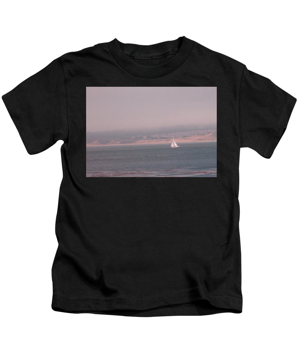 Sailing Solo Kids T-Shirt featuring the photograph Sailing Solo by Pharris Art