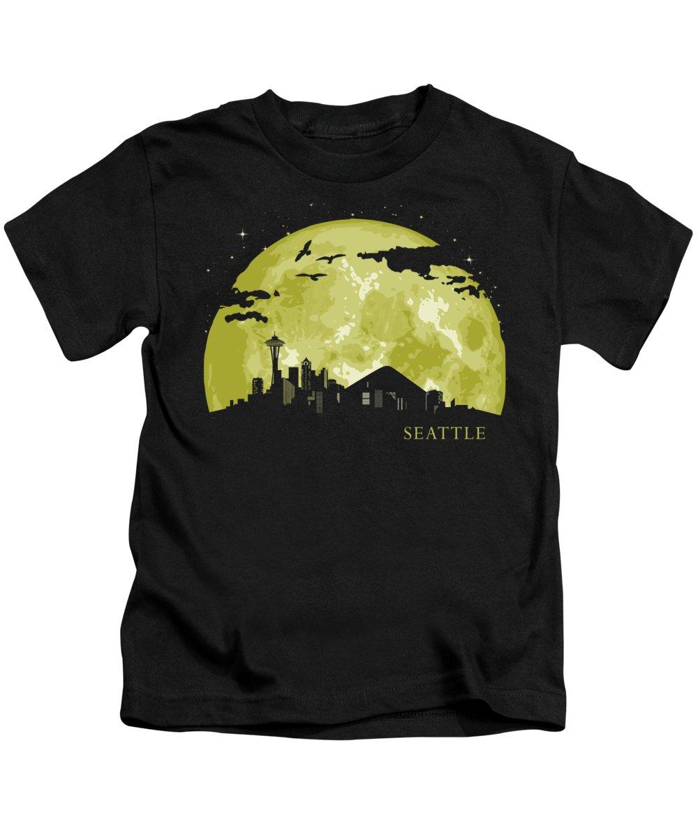 Seattle Kids T-Shirt featuring the digital art SEATTLE Moon Light Night Stars Skyline by Filip Schpindel