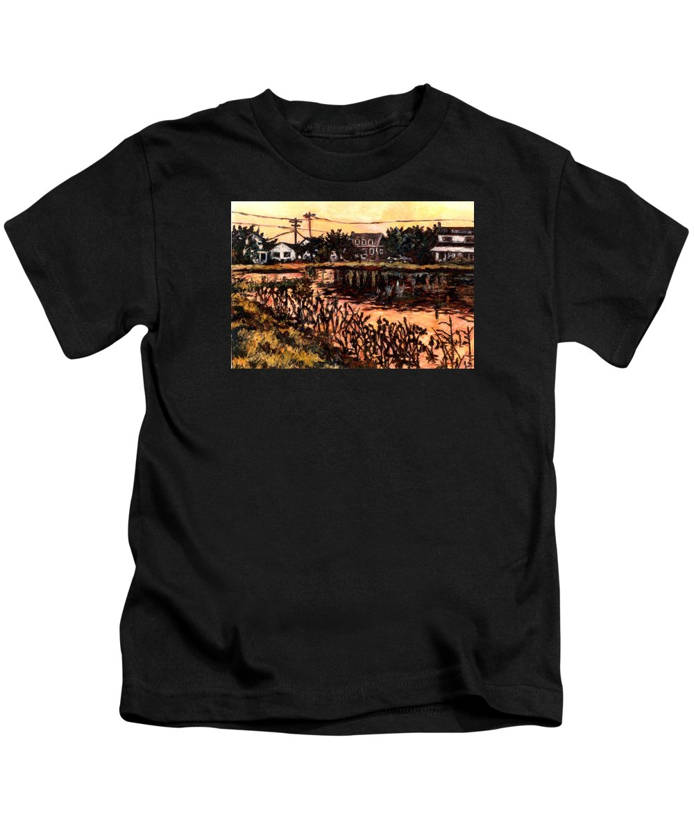 Landscape Kids T-Shirt featuring the painting Silver Lake at Rehoboth Beach by Kendall Kessler