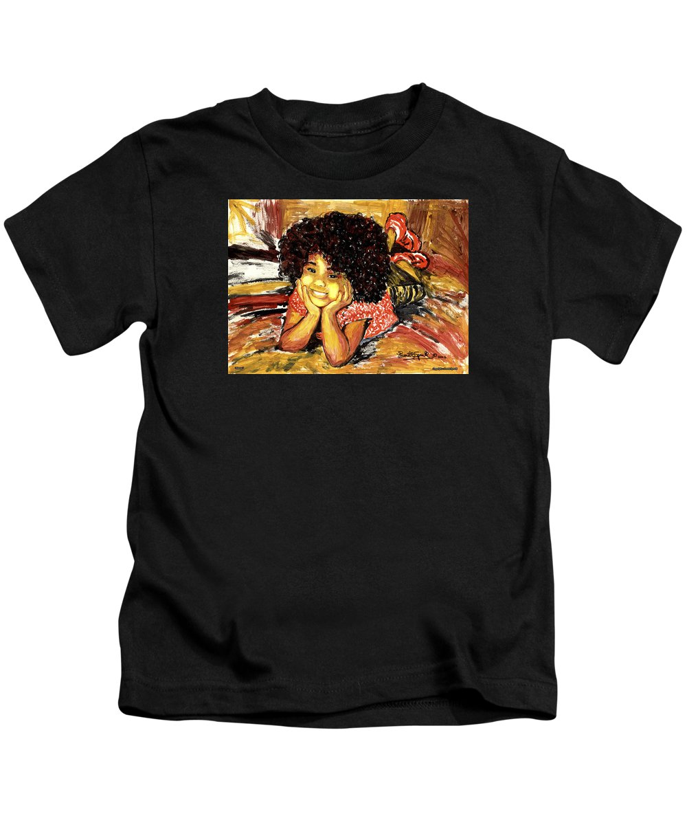 Everett Spruill Kids T-Shirt featuring the painting Simone by Everett Spruill