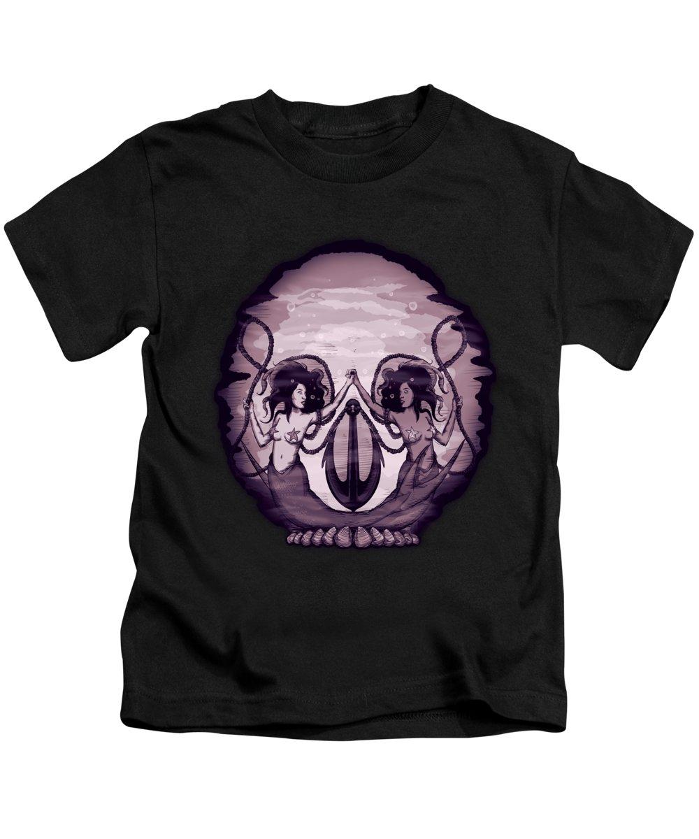 Skull Kids T-Shirt featuring the drawing Sleep Walk by Ludwig Van Bacon