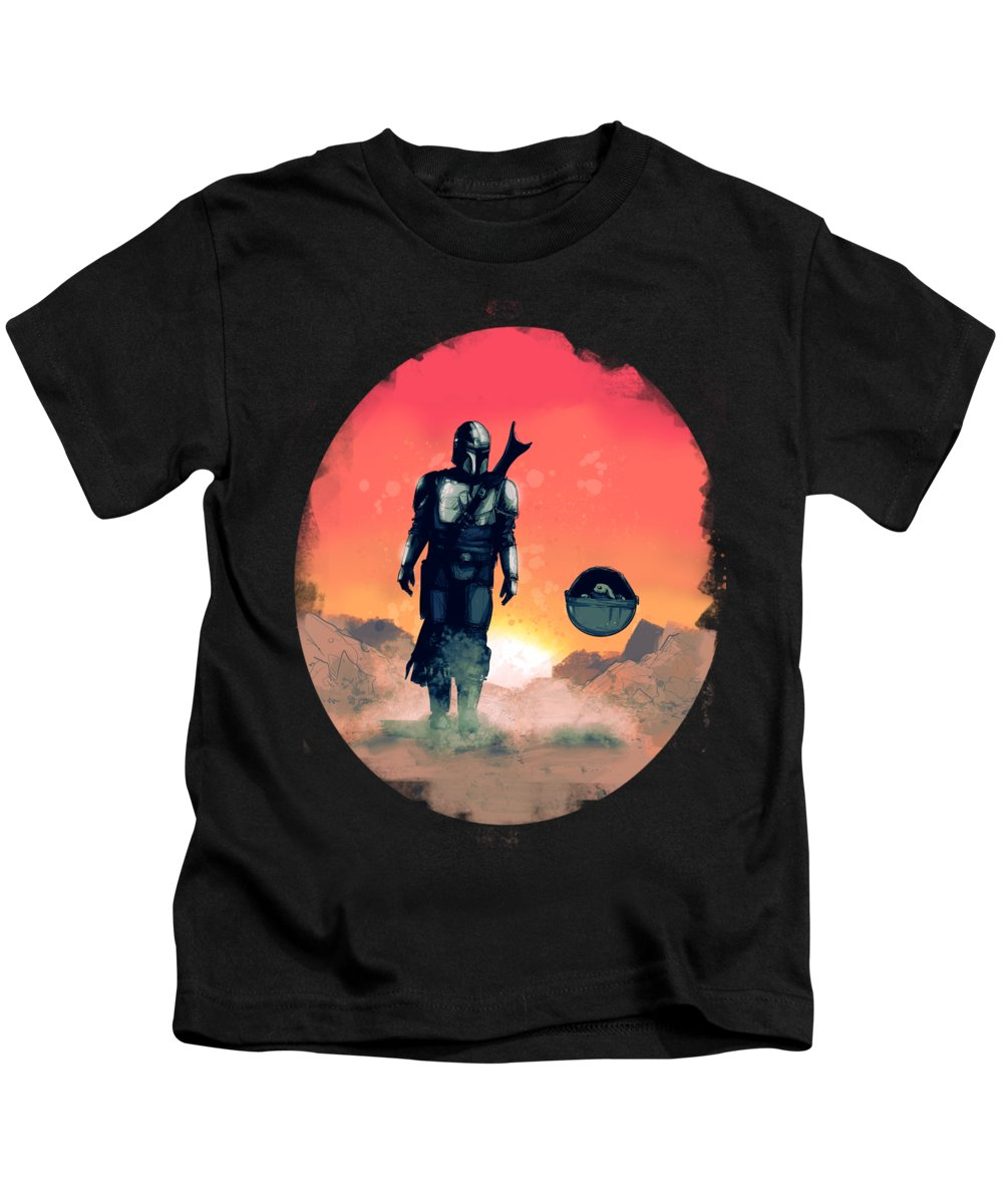 Mando Kids T-Shirt featuring the drawing Space Dad by Ludwig Van Bacon