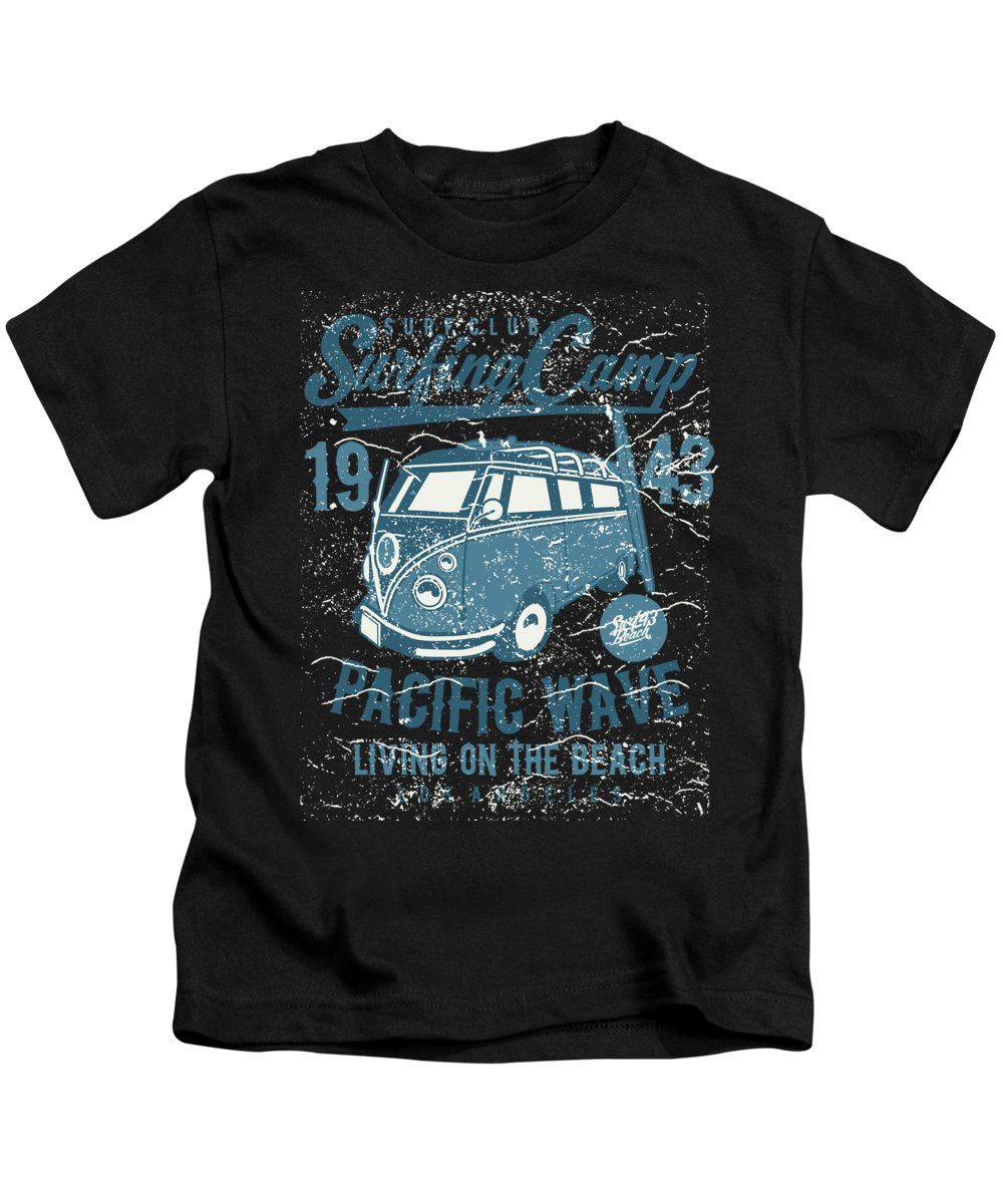 California Kids T-Shirt featuring the digital art Surf Club Surfing Camp Pacific Wave by Jacob Zelazny