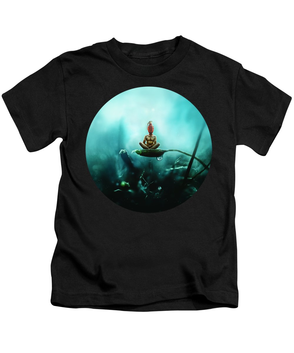 Surreal Kids T-Shirt featuring the digital art Temporary Peace by Mario Sanchez Nevado