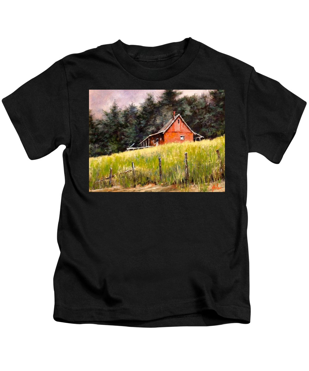 Landscape Kids T-Shirt featuring the painting The Red Coach Stop by Jim Gola
