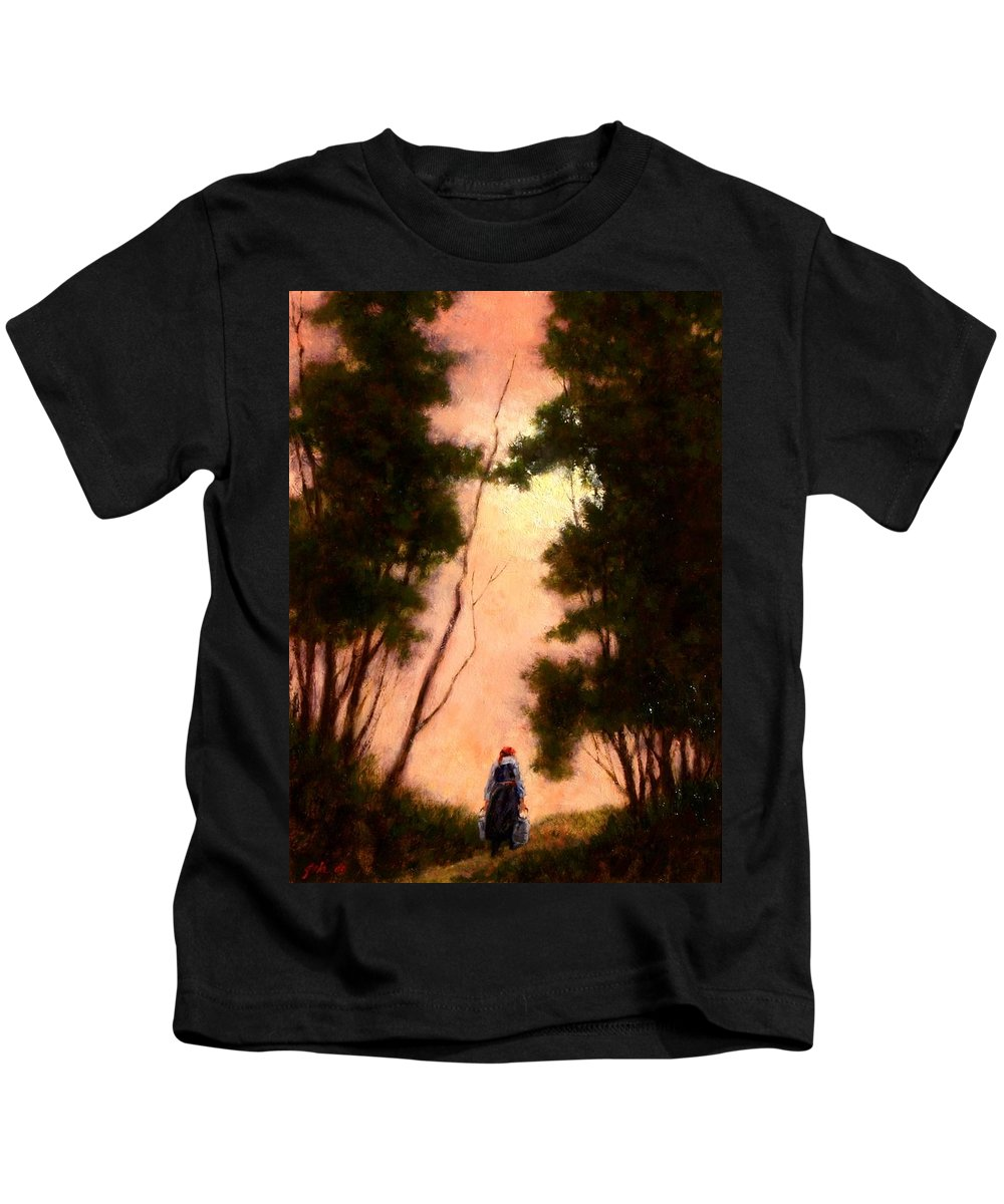 Landscape. Oil Painting Kids T-Shirt featuring the painting The Walk Home by Jim Gola