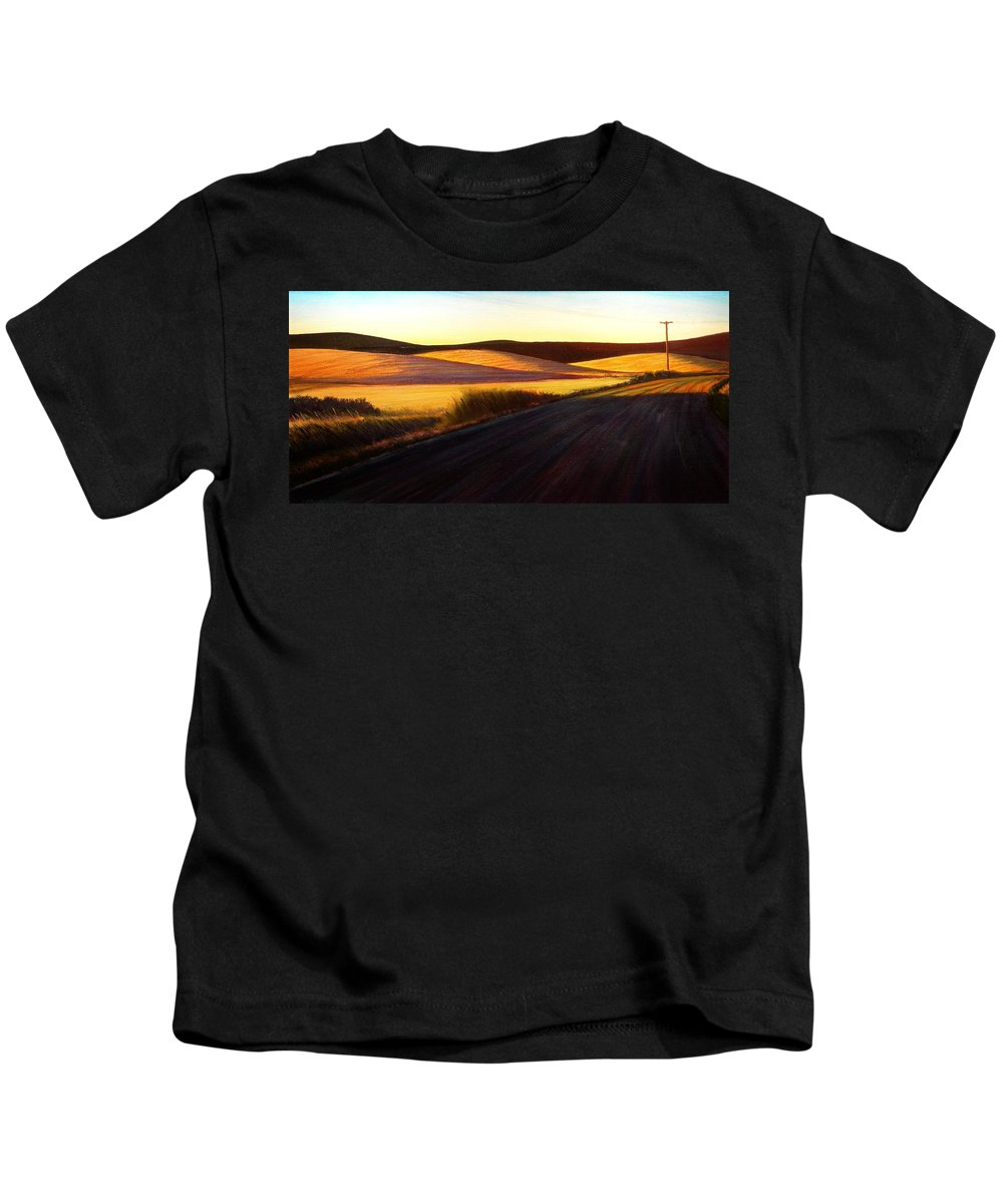 Sunrise Kids T-Shirt featuring the painting Three Sisters Morning Hills near Genesee Washington by Leonard Heid