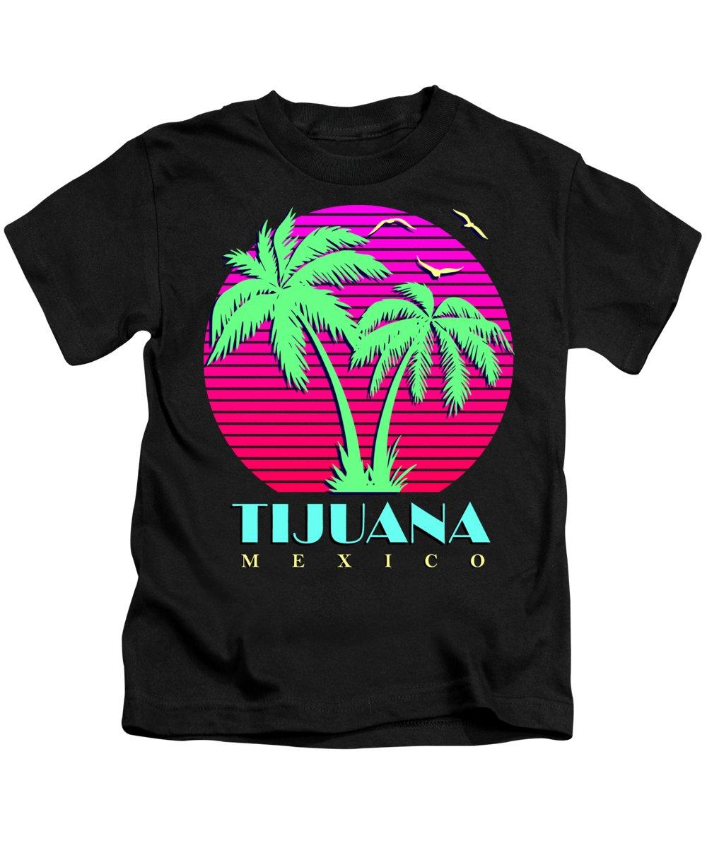 Classic Kids T-Shirt featuring the digital art Tijuana Mexico Retro Palm Trees Sunset by Filip Schpindel
