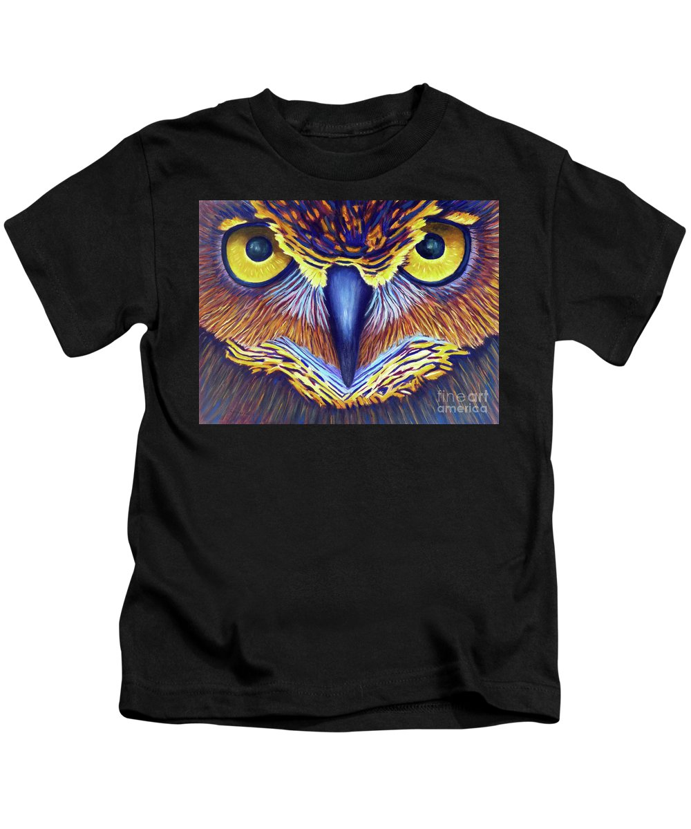 Owl Kids T-Shirt featuring the painting Watching by Brian Commerford