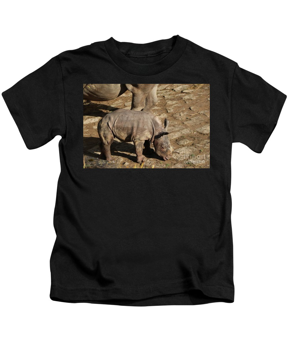 White Rhino Kids T-Shirt featuring the photograph Willi - Born January 08. 2020 by Christiane Schulze Art And Photography