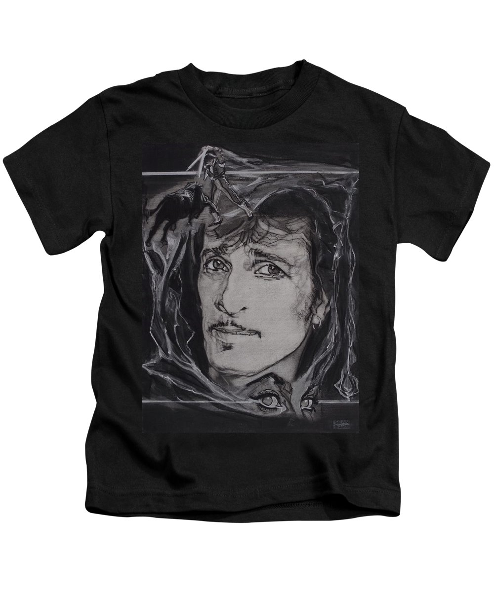 Charcoal On Paper Kids T-Shirt featuring the drawing Willy DeVille - Coup de Grace by Sean Connolly