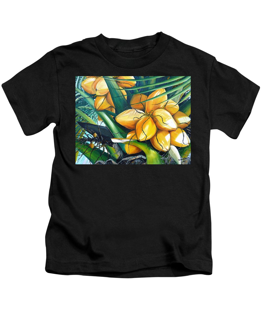 Coconut Painting Botanical Painting  Tropical Painting Caribbean Painting Original Painting Of Yellow Coconuts On The Palm Tree Kids T-Shirt featuring the painting Yellow Coconuts by Karin Dawn Kelshall- Best