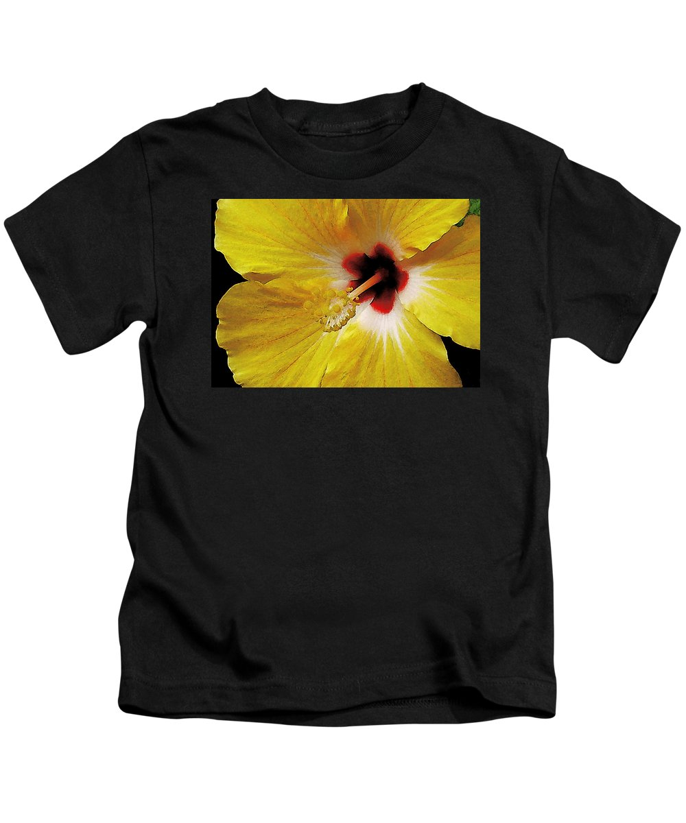 Hawaii Iphone Cases Kids T-Shirt featuring the photograph Yellow Hibiscus With Red Center by James Temple
