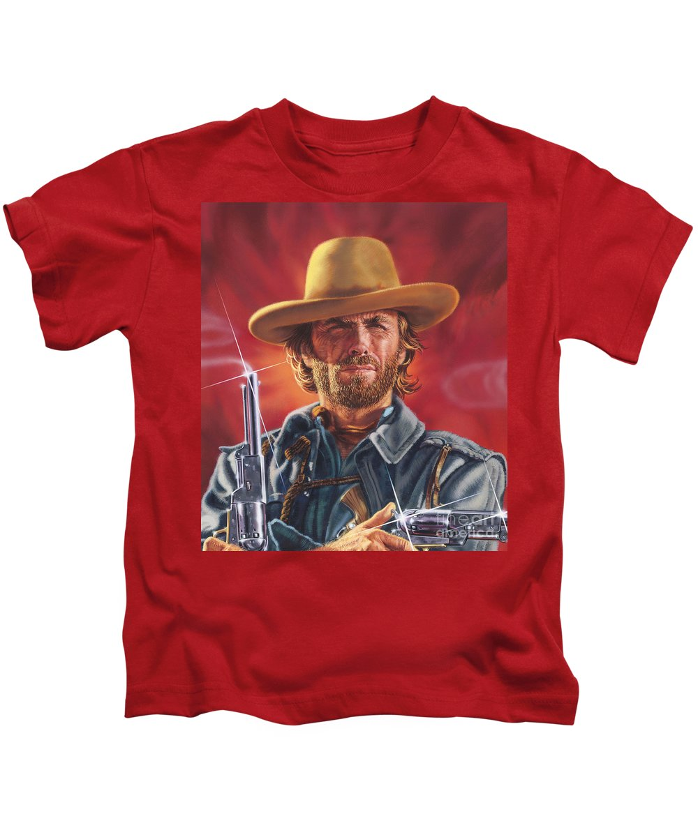 Portrait Kids T-Shirt featuring the painting Clint Eastwood by Dick Bobnick