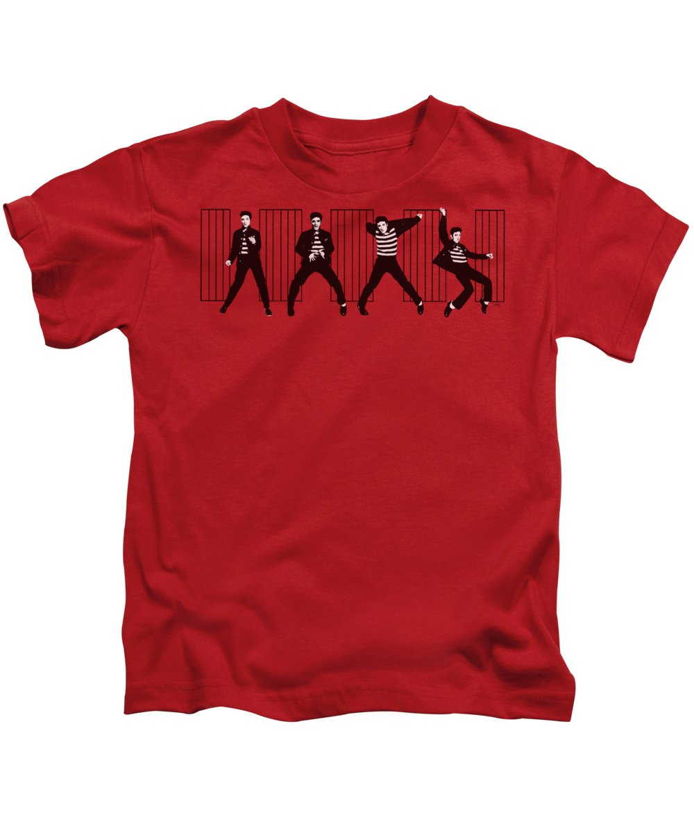 Elvis Kids T-Shirt featuring the digital art Elvis - Jailhouse Rock by Brand A