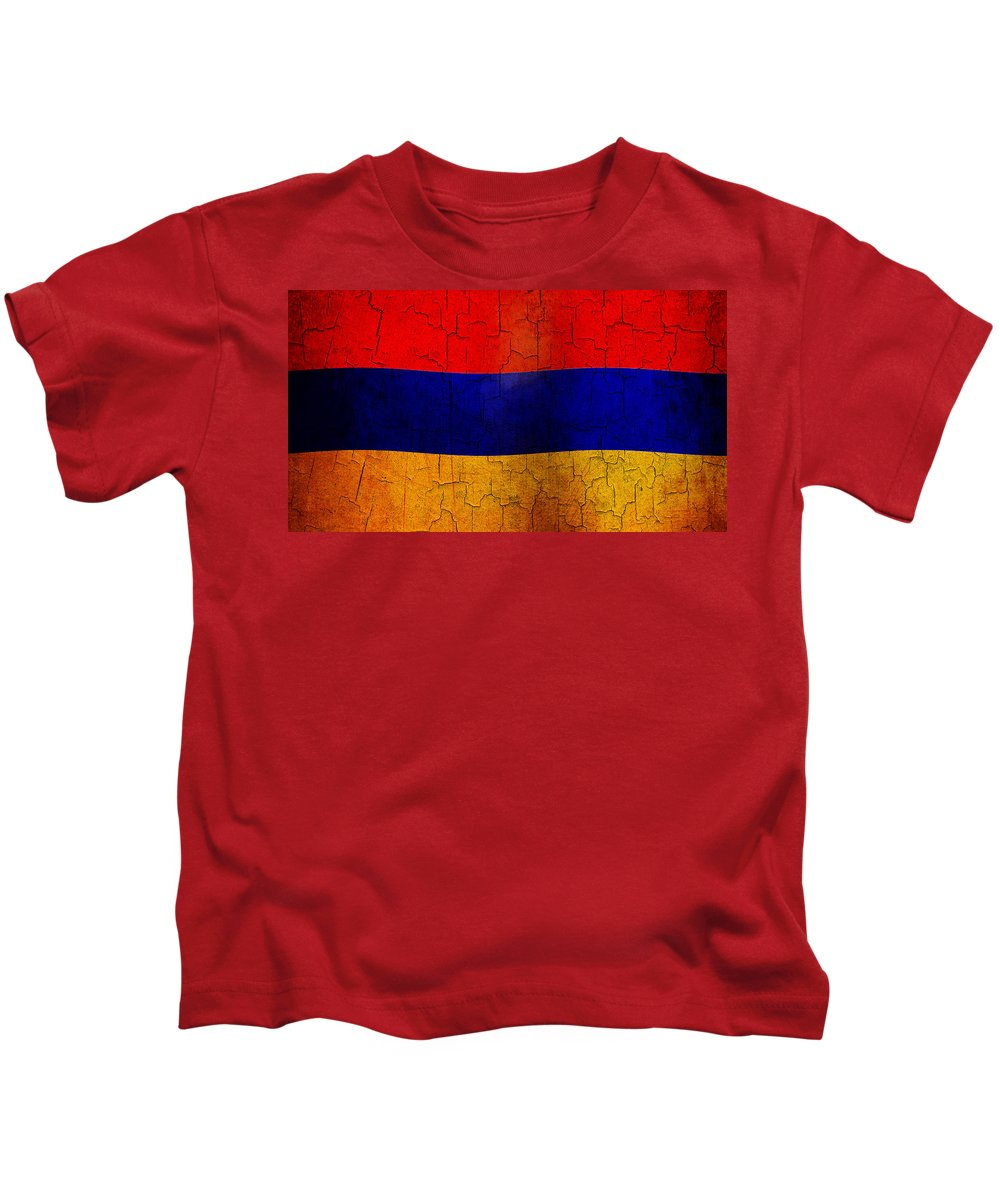 Aged Kids T-Shirt featuring the digital art Grunge Armenia Flag by Steve Ball