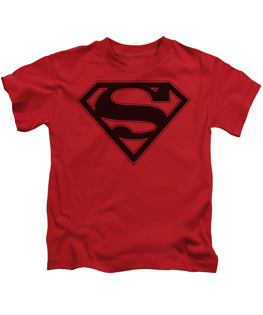 Superman Kids T-Shirt featuring the digital art Superman - Red And Black Shield by Brand A