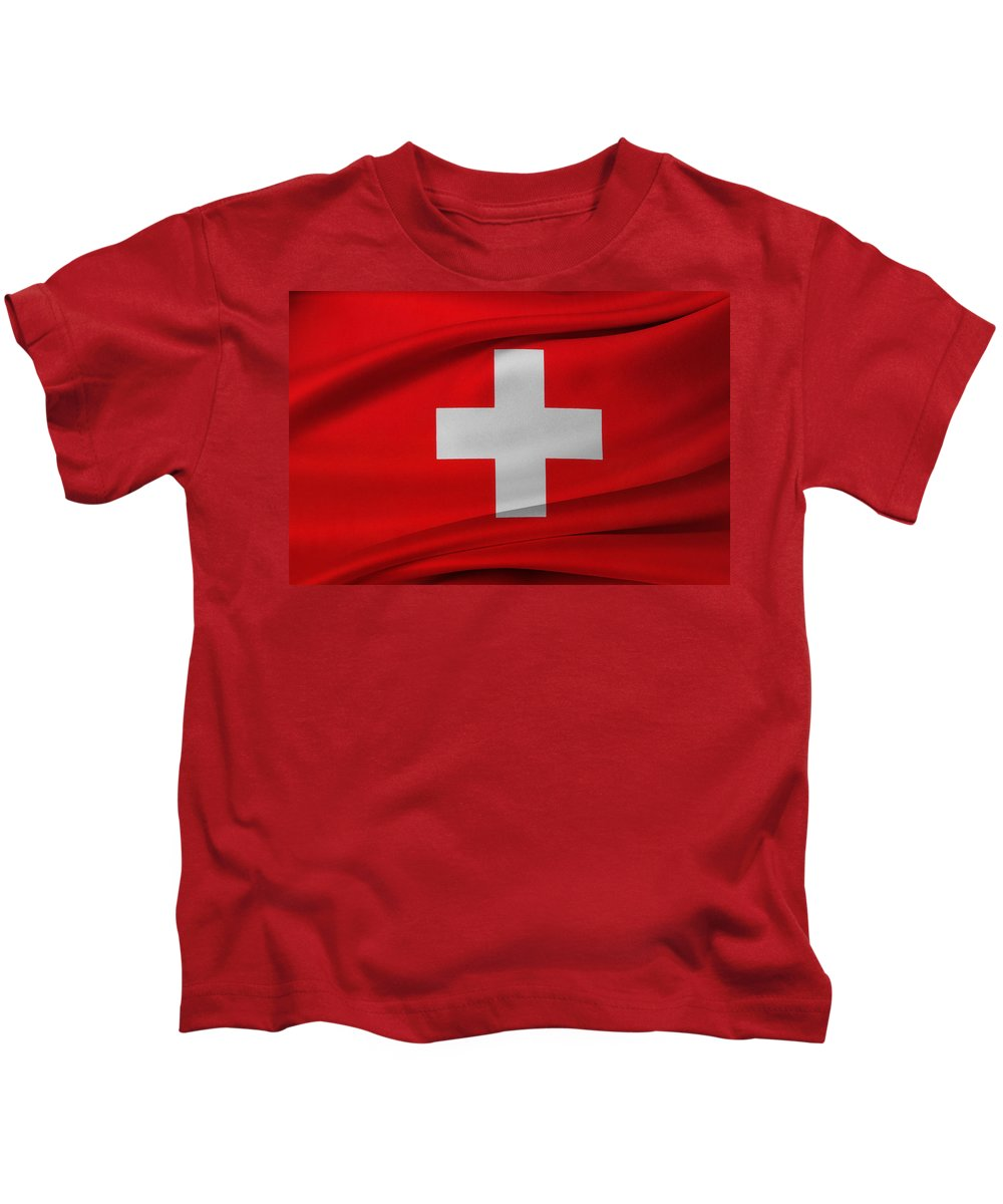 Flag Kids T-Shirt featuring the photograph Swiss Flag by Les Cunliffe