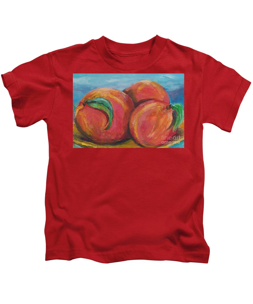 Impressionism Kids T-Shirt featuring the painting Peaches by Eric Schiabor