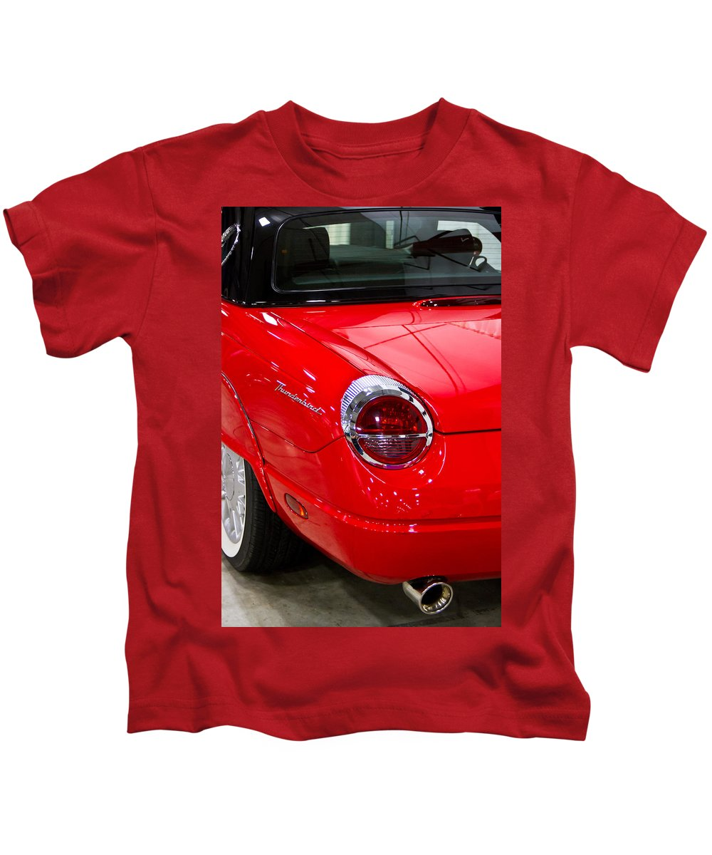 Classic Kids T-Shirt featuring the photograph 2002 Red Ford Thunderbird-rear Left by Eti Reid