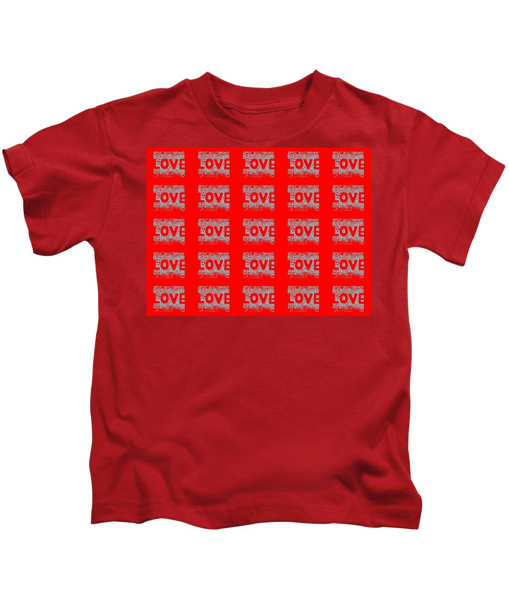 Love Kids T-Shirt featuring the digital art 25 Affirmations Of Love In Red by Helena Tiainen