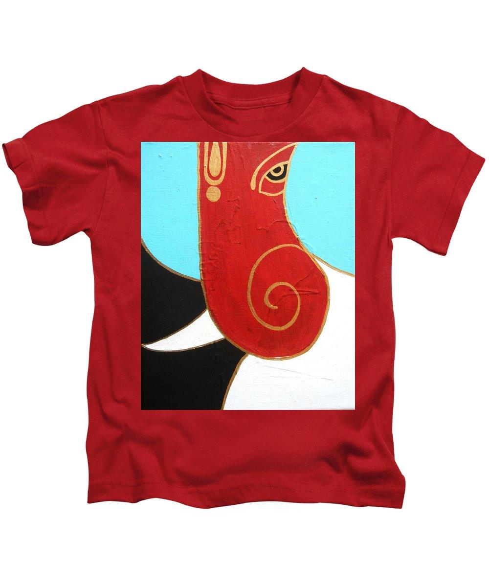 Ganesha Kids T-Shirt featuring the painting 28 Shashwat Ganapati by Kruti Shah
