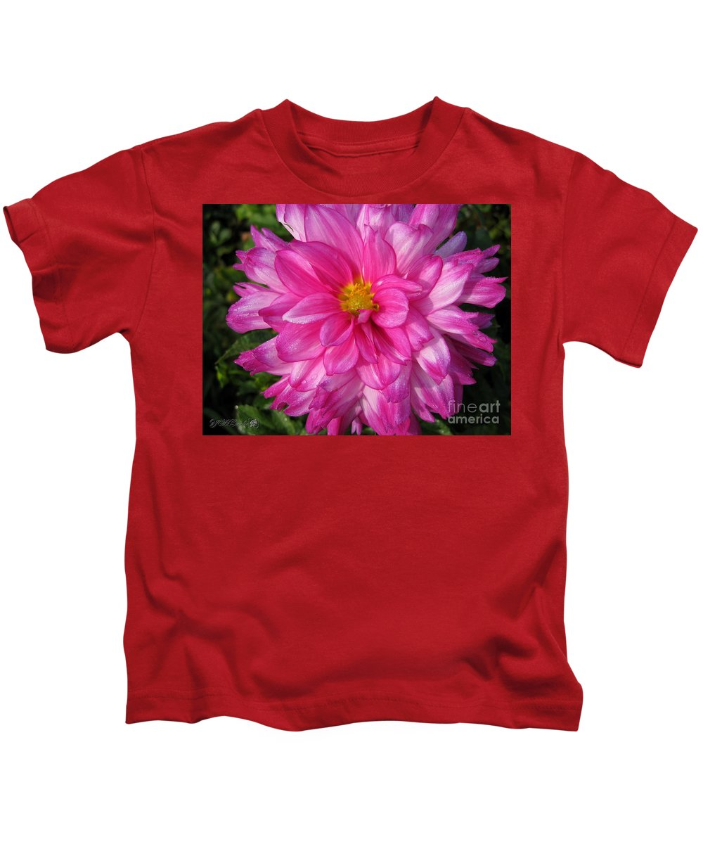 Dahlia Kids T-Shirt featuring the photograph Dahlia Named Who Dun It by J McCombie
