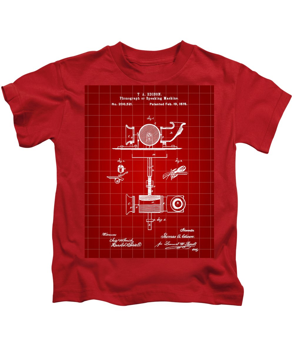 Phonograph Kids T-Shirt featuring the digital art Edison Phonograph Patent 1878 - Red by Stephen Younts