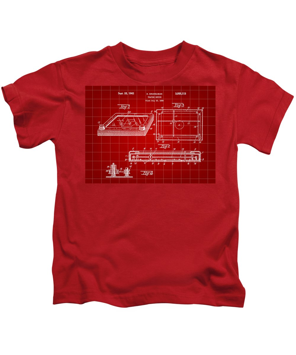 Etch-a-sketch Kids T-Shirt featuring the digital art Etch A Sketch Patent 1959 - Red by Stephen Younts