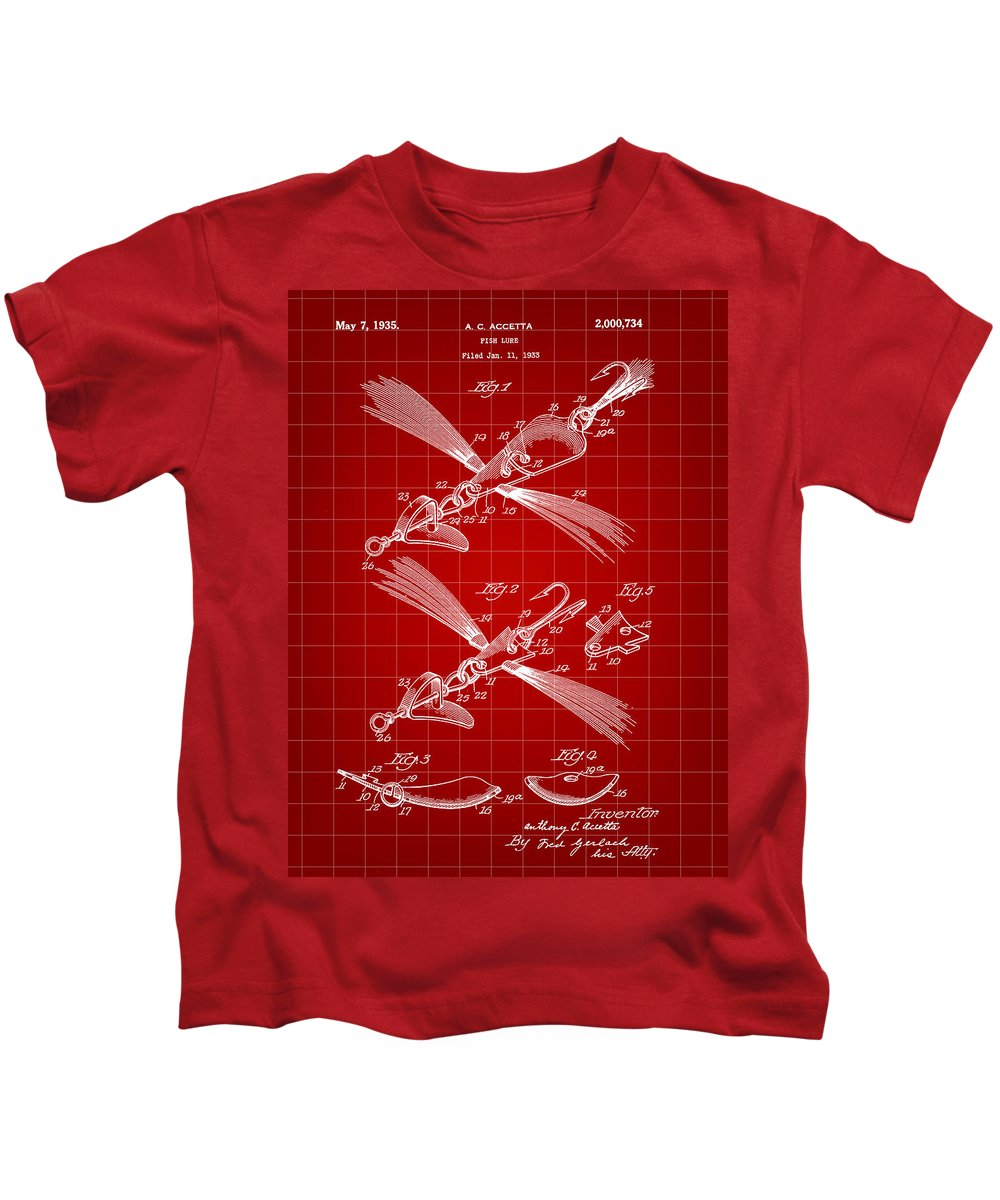Patent Kids T-Shirt featuring the digital art Fish Lure Patent 1933 - Red by Stephen Younts