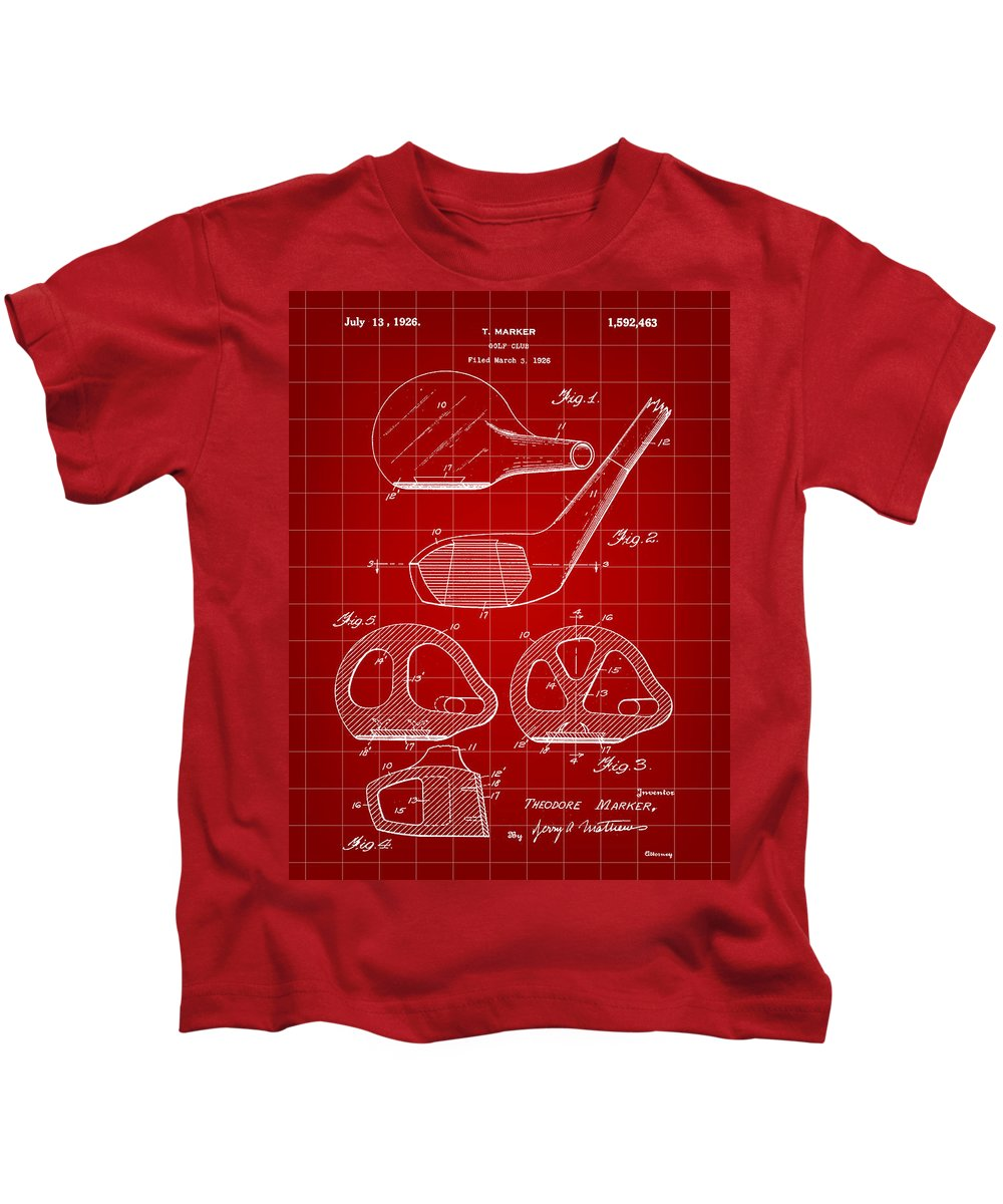 Golf Kids T-Shirt featuring the digital art Golf Club Patent 1926 - Red by Stephen Younts