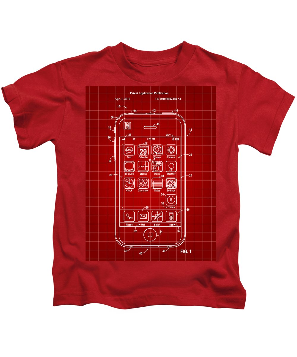 Iphone Kids T-Shirt featuring the digital art iPhone Patent - Red by Stephen Younts