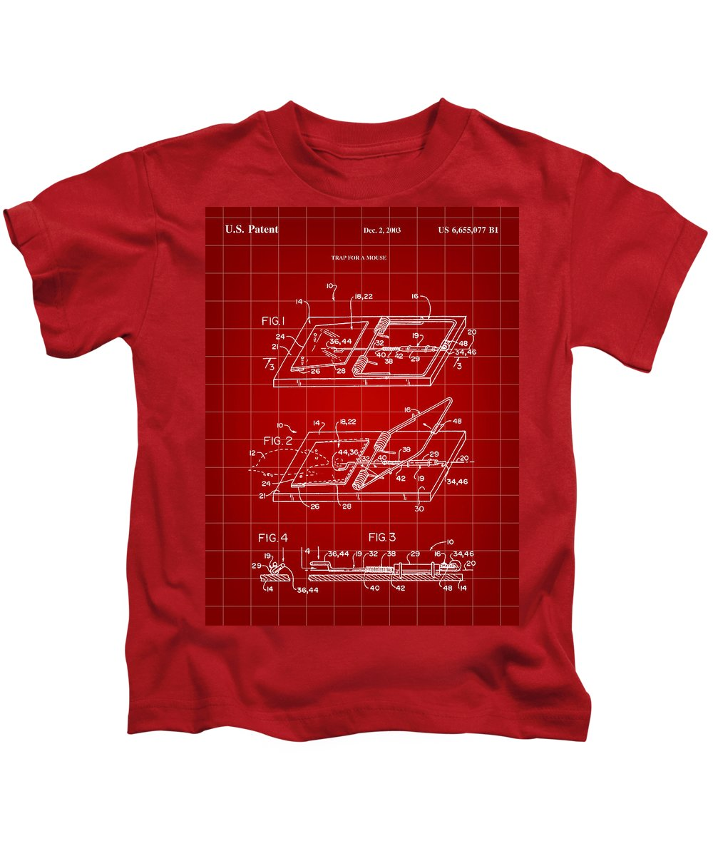 Mouse Kids T-Shirt featuring the digital art Mouse Trap Patent - Red by Stephen Younts