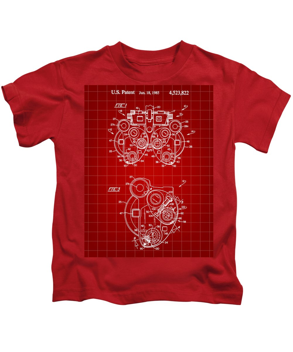 Optical Kids T-Shirt featuring the digital art Optical Refractor Patent 1985 - Red by Stephen Younts