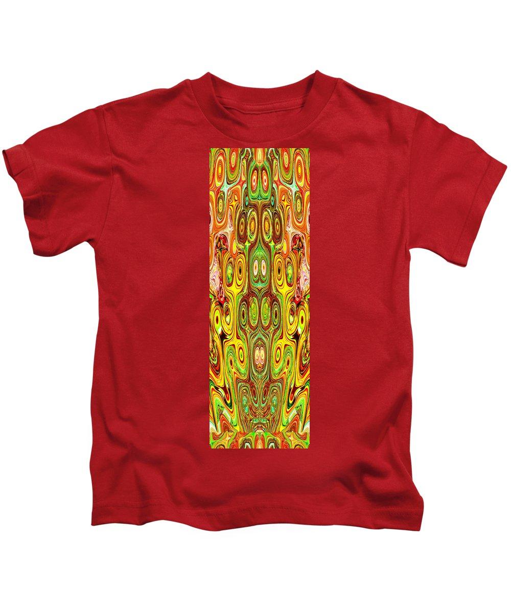Woodcraft Kids T-Shirt featuring the mixed media Woodcraft Ghosts Spirits Indian Native Aboriginal Masks Motif Symbol Emblem Ethnic Rituals Display H by Navin Joshi