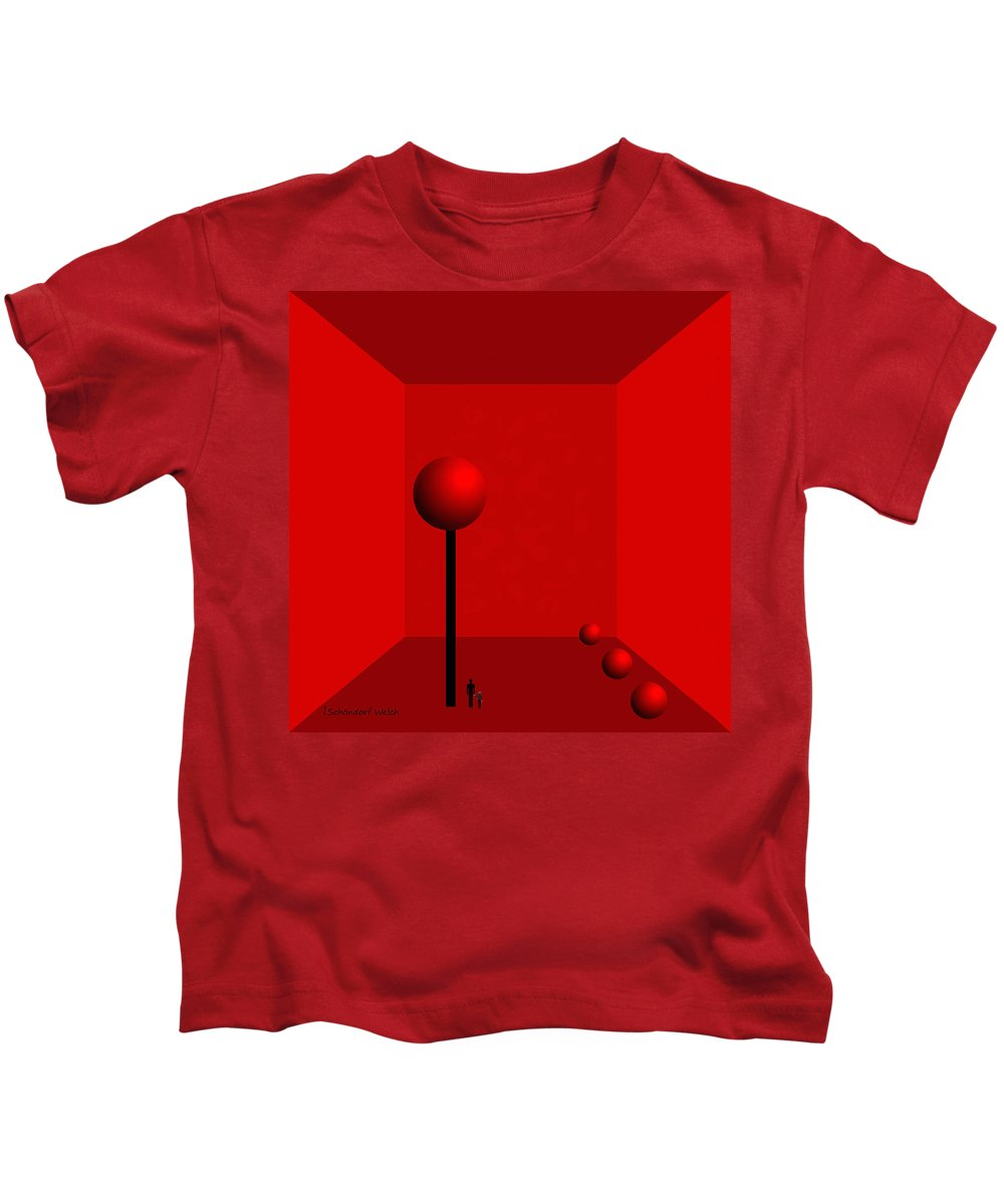 980 Kids T-Shirt featuring the painting 980 -  For Ever Trapped by Irmgard Schoendorf Welch