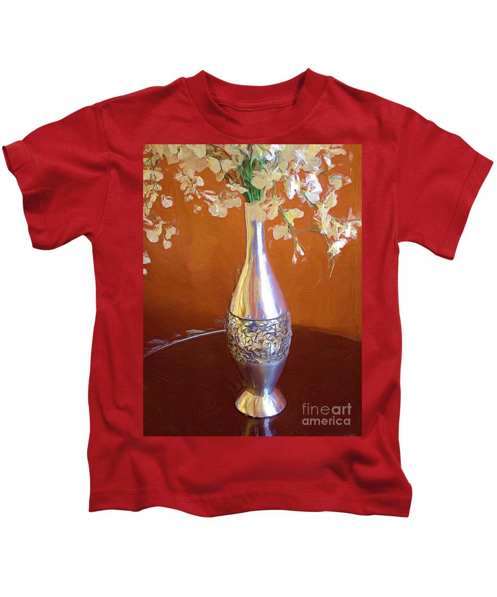 Silver Kids T-Shirt featuring the painting A Painting Silver Vase On Table by Mike Nellums