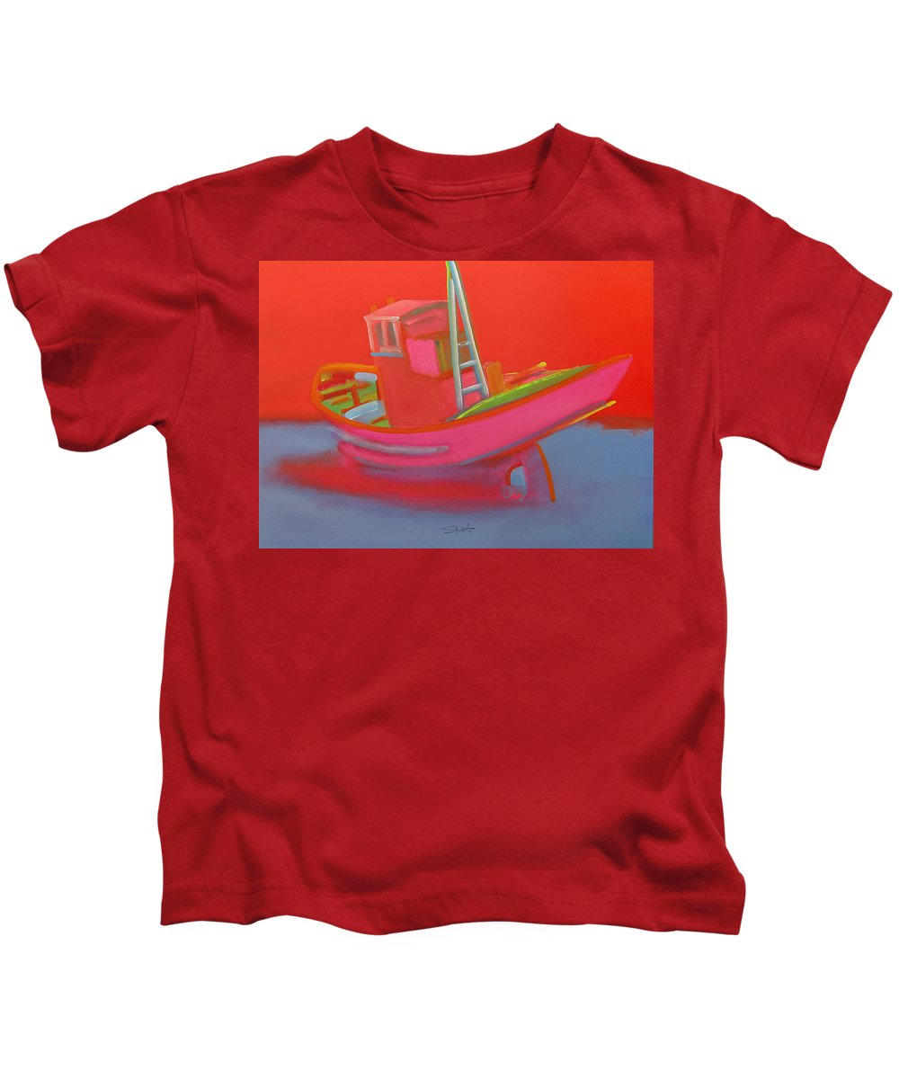 Fishing Kids T-Shirt featuring the painting Abandoned Red Fishing Trawler by Charles Stuart