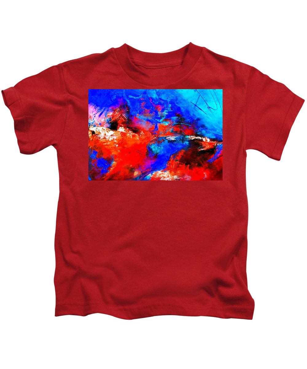 Abstract Kids T-Shirt featuring the painting Abstract 9683805 by Pol Ledent