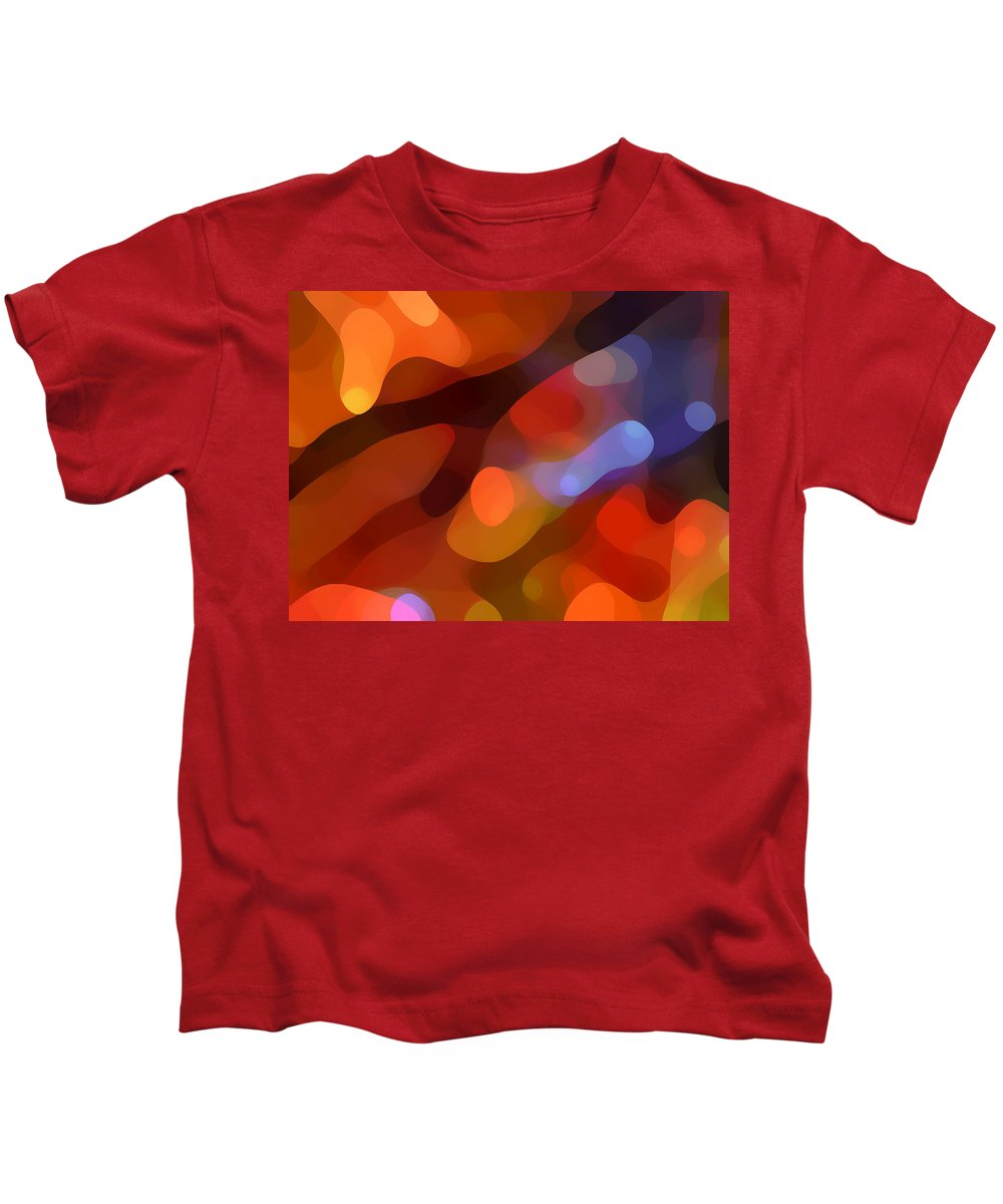 Abstract Art Kids T-Shirt featuring the painting Abstract Fall Light by Amy Vangsgard
