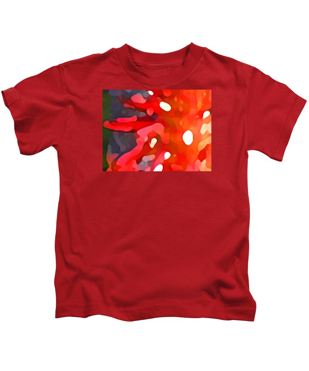 Bold Kids T-Shirt featuring the painting Abstract Red Sun by Amy Vangsgard
